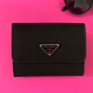 Prada Women's UZO Black Nylon Small Bifold Wallet.